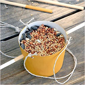 Birdseed homemade cup with string