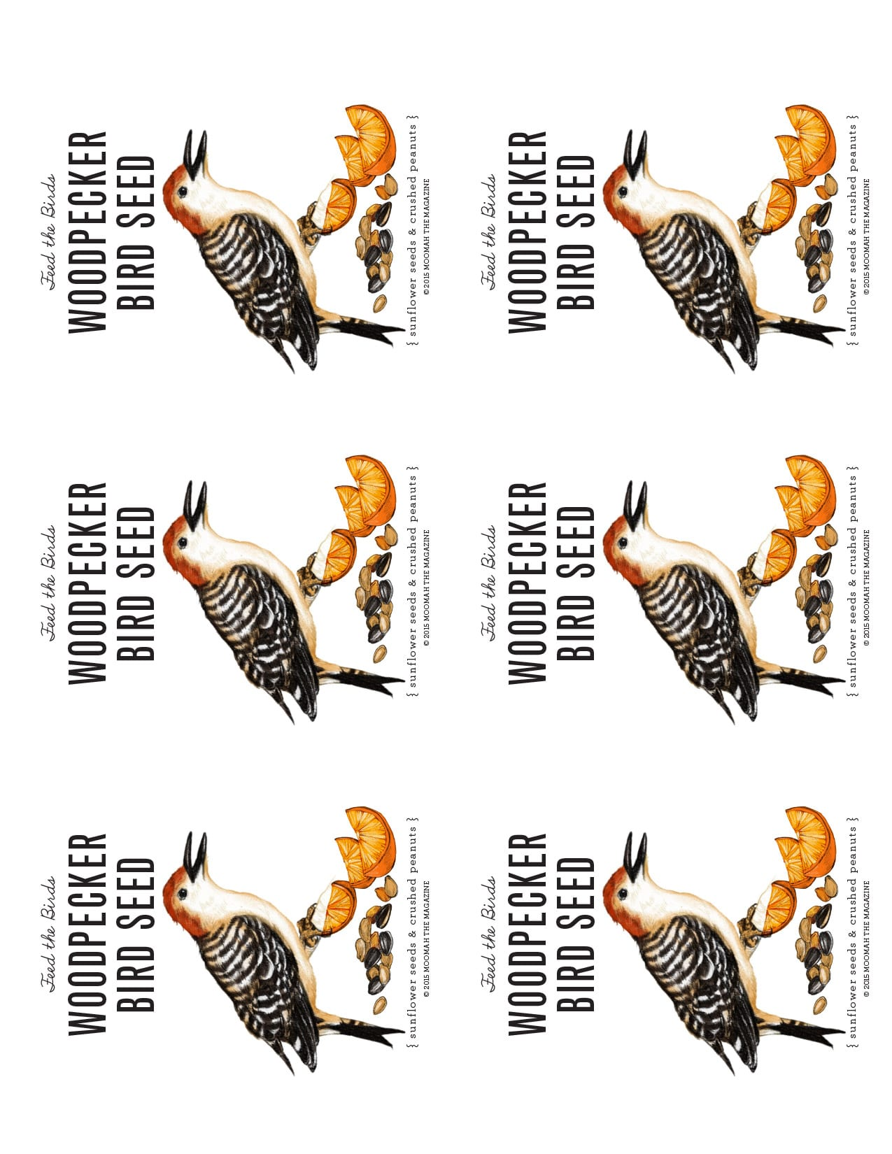 Woodpecker Bird Seed Packet Template for Download