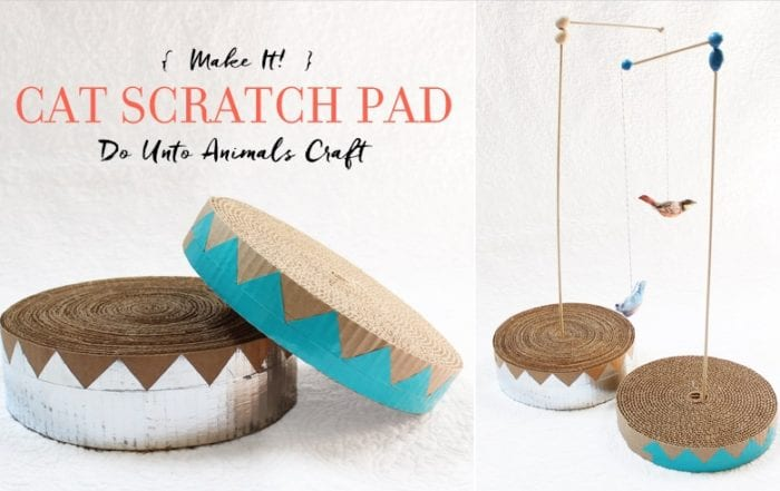 Make It! Cat Scratch Pad Do Unto Animals Craft Featured Image with Blog Title and Finished Scratch Pad Craft