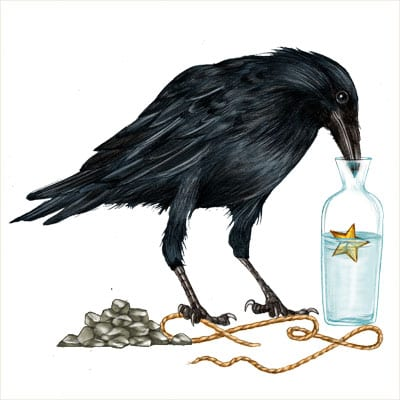 Illustration of Asops Fable Crow Trying to get water from pitcher