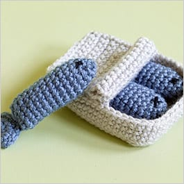 Crochet sardine can filled with catnip