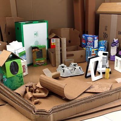 Closeup of cardboard town supplies
