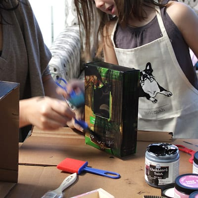 Painting a cardboard box together