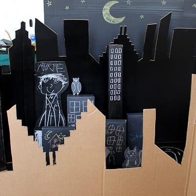 Cardboard town skyline