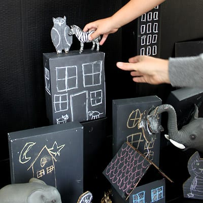 More animals being added to cardboard town, this time a zebra!