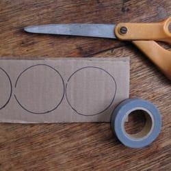 Scissors, cardboard, and tape