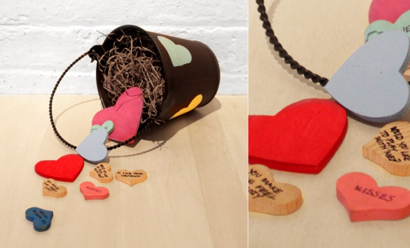 Teaching the Golden Rule Featured Image: Bucket of Love Craft with Wood Hearts Pouring Out