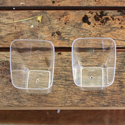 Two plastic containers with hole poked in the bottom