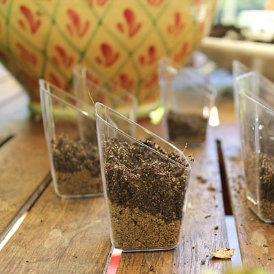 Plastic containers with sand and soil layered inside