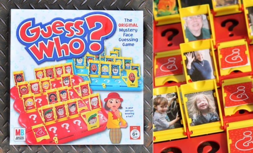 "The ""I Tease Because I Love"" Game Featured Image: Guess Who® Boardgame and closeup of board with photos replaced with family"