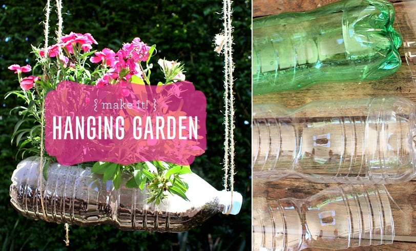 Make It! Hanging Garden Featured Image with Finished Craft and Plastic Bottles Pictured