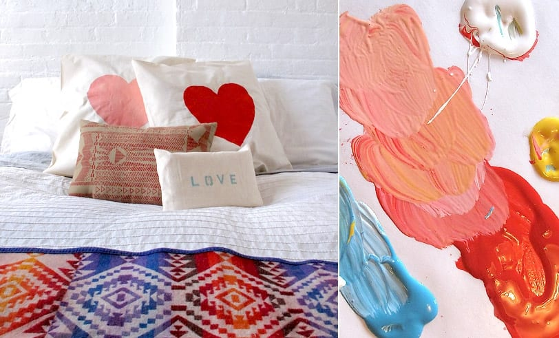 A collection of pillows on a neat bed, two of which feature large hearts. A second picture is of paint ranging from red to pink.