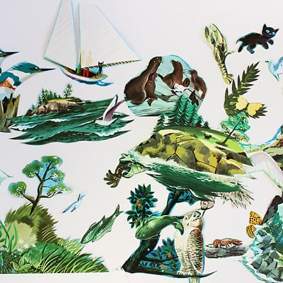 Images cut out from the book The Little Island layed out before being pasted on to the medium weight craft paper.
