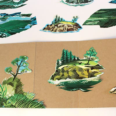 Nature scene pasted on the accordion book of The Little Island.