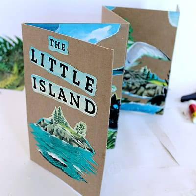 A topside view of The Little Island accordion book.