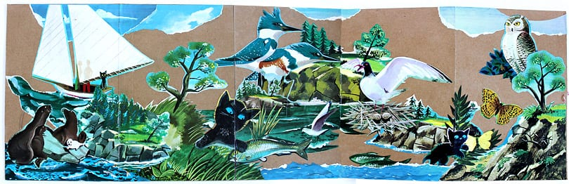 The Little Island book illustrations pasted to medium weight craft paper creating a nautical island scene.