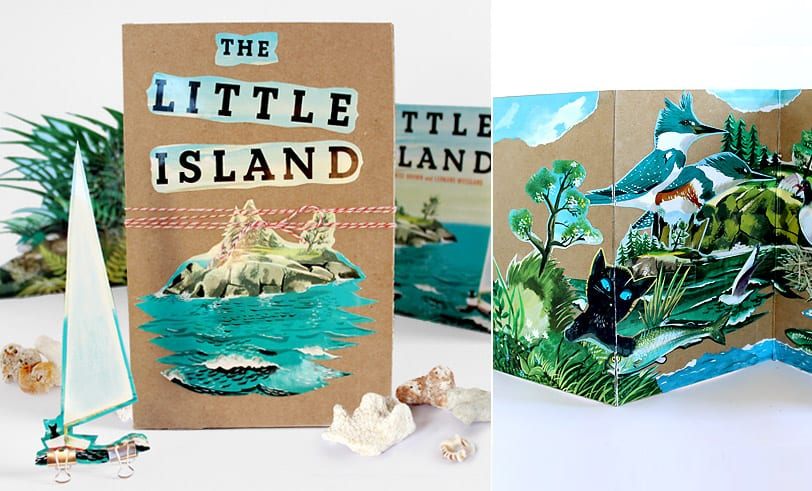 The Little Island Accordion Book Craft Finished Product. Pasted book illustrations to medium weight craft paper.