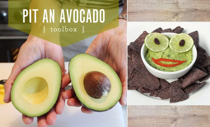 Toolbox Pit an Avocado featured picture. Two halves of an avocado side by side with picture of guacamole with lime eyes and red pepper mouth surrounded by blue corn chips.